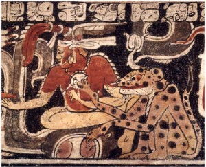 Mayan hero twin with jaguar